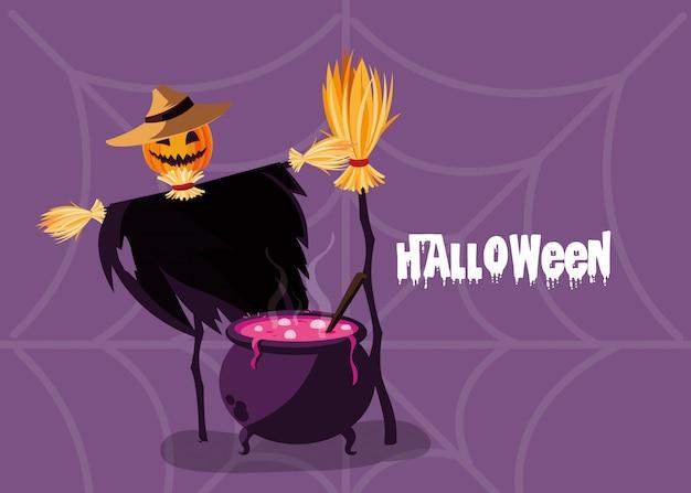 Tarjeta de halloween con personaje de espantapájaros