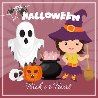Tarjeta de halloween con personajes de bruja niños