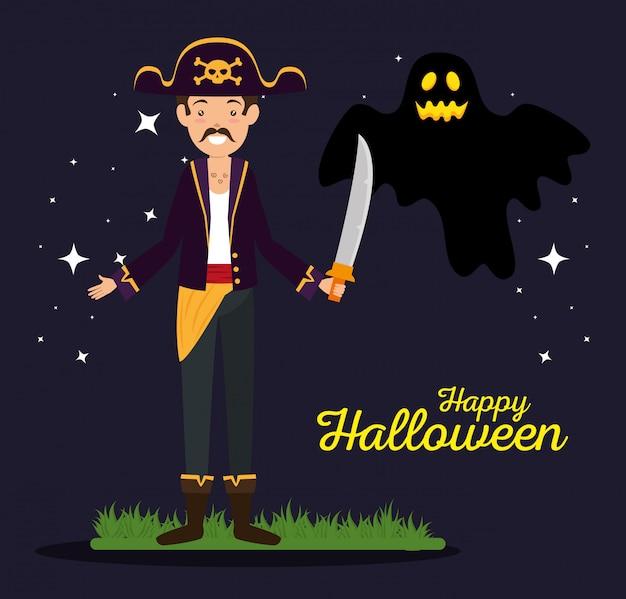 Tarjeta de halloween con pirata y fantasma