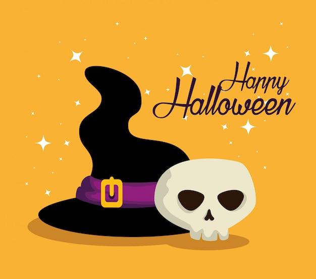 Tarjeta de halloween con sombrero de bruja y calavera