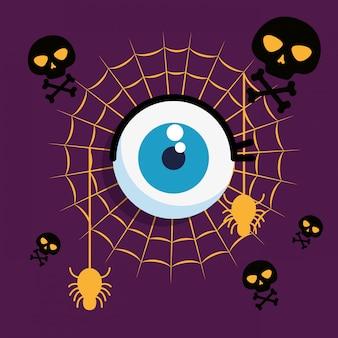 Tarjeta de halloween con tela de araña y ojo humano
