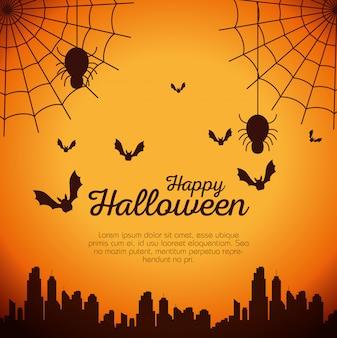 Tarjeta de halloween con telaraña y murciélagos volando