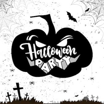 Tarjeta hallowen con plumpkin enojado y script fiesta de halloween