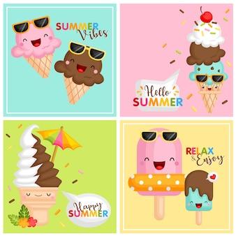 Tarjeta de helado de verano