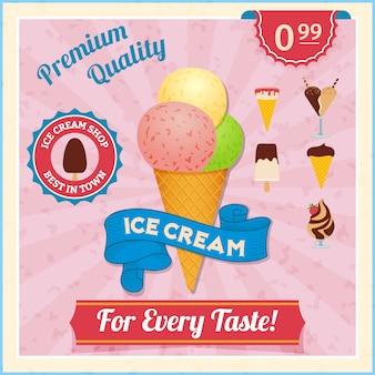 Tarjeta de helados vintage