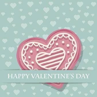 Tarjeta hermosa del amor con la galleta rosada del corazón