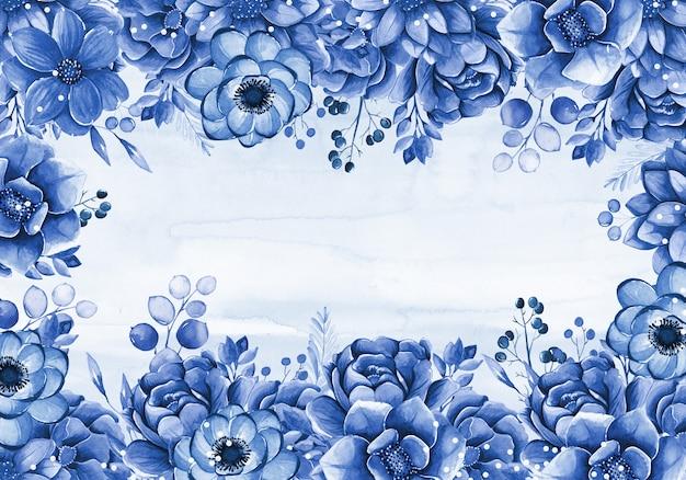 Tarjeta con hermosas flores acuarelas