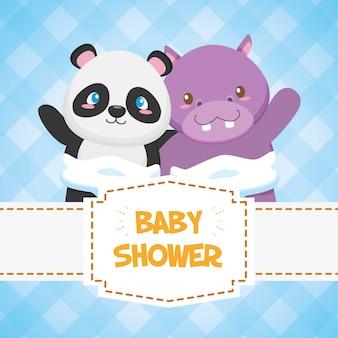 Tarjeta de hipopótamo y panda para baby shower