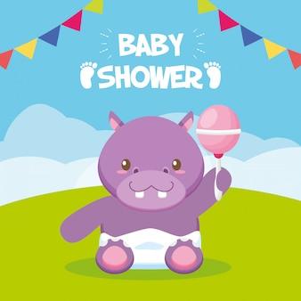 Tarjeta de hipopótamo con sonajero para baby shower