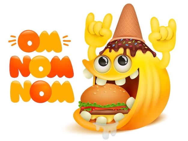 Tarjeta de historieta cómica om nom nom. personaje de emoji de sonrisa amarilla con cono de helado en la cabeza comiendo hamburguesa