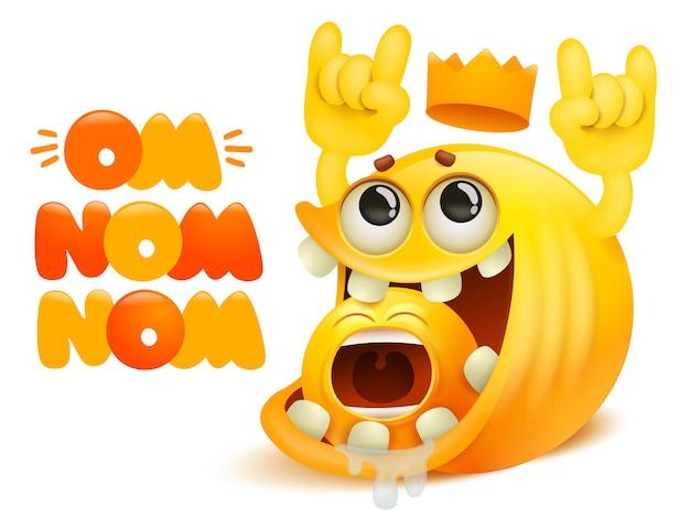 Tarjeta de historieta cómica om nom nom. sonrisa amarilla emoji personaje comiendo otro
