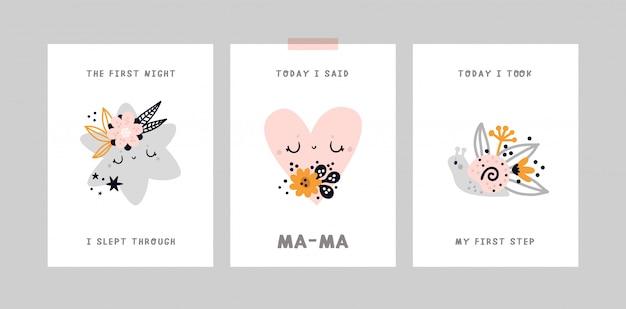 Tarjeta de hitos de bebé. baby shower print capturando todos los momentos especiales. tarjeta de aniversario del mes del bebé