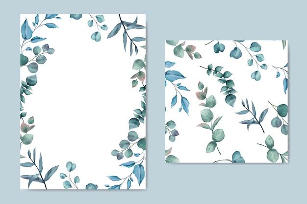 Tarjeta de hojas de acuarela y paquete transparente