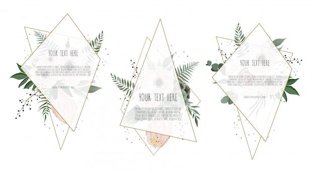 Tarjeta con hojas de flores y marco geométrico.