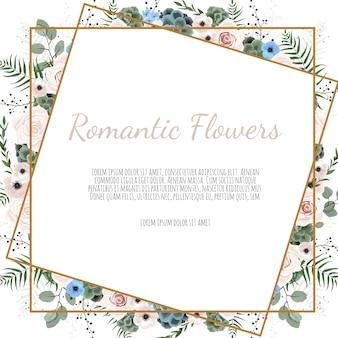 Tarjeta con hojas y marco geométrico. cartel floral