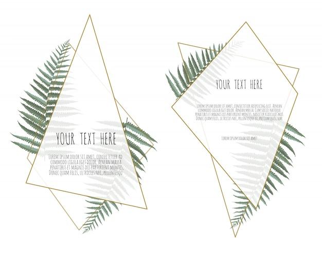 Tarjeta con hojas y marco geométrico.