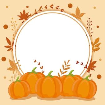 Tarjeta con hojas de otoño y calabazas