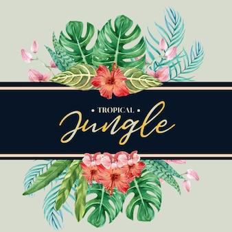 Tarjeta de hojas tropicales