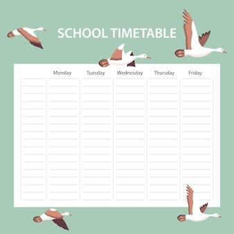 Tarjeta de horario escolar creativo con pájaros
