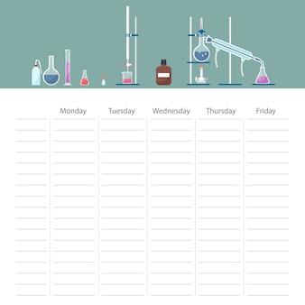 Tarjeta de horario escolar con tema de curso de química