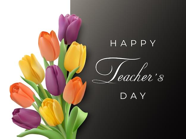 Tarjeta horizontal del día del maestro con tulipanes