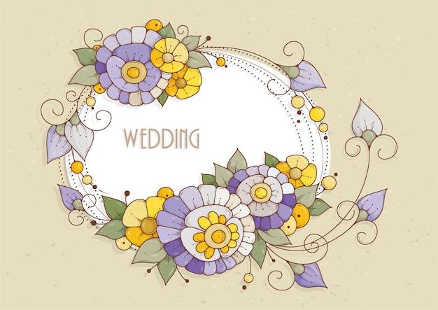 Tarjeta horizontal con flores púrpuras y amarillas para invitaciones y felicitaciones.