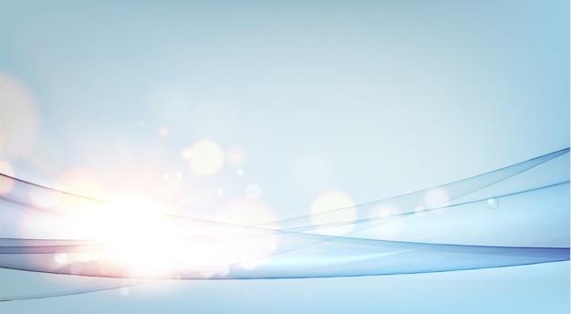 Tarjeta horizontal con ondas de flujo mágico sobre fondo azul con bokeh dorado.