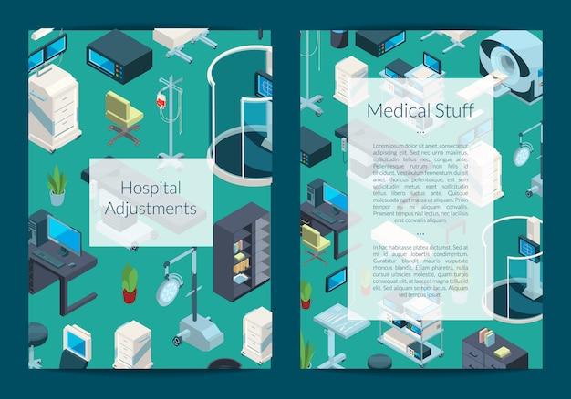 Tarjeta de iconos isométrica del hospital o plantilla de volante