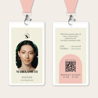 Tarjeta de identidad del salón de belleza
