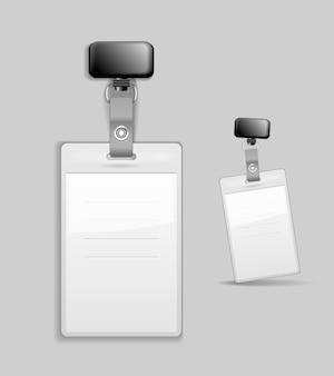 Tarjeta de identificación en blanco plantilla de identificación de insignia ilustración vectorial