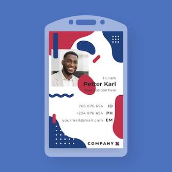 Tarjeta de identificación comercial en estilo memphis con foto