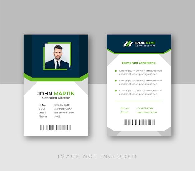Tarjeta de identificación comercial de oficina con plantilla de elementos minimalistas