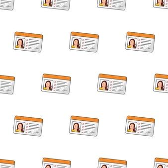 Tarjeta de identificación femenina de patrones sin fisuras sobre un fondo blanco. ilustración de vector de tema de identidad personal