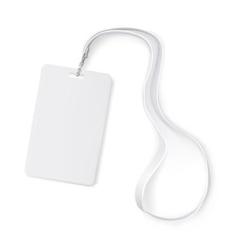 Tarjeta de identificación de placa de plástico transparente con cordón de cuello blanco. realista