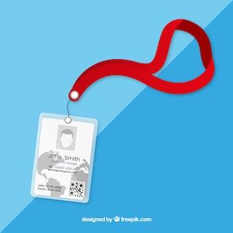 Tarjeta de identificación plana con pinza y cordón
