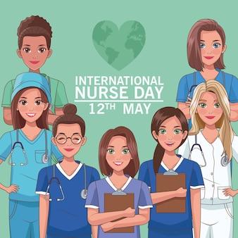 Tarjeta de ilustración del día internacional de la enfermera 12 de mayo