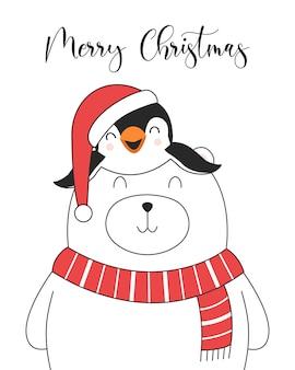 Tarjeta de ilustración divertida feliz navidad con oso polar y pingüino.