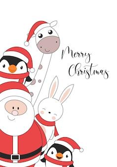 Tarjeta de ilustración de feliz navidad con jirafa de conejo pingüino y santa claus