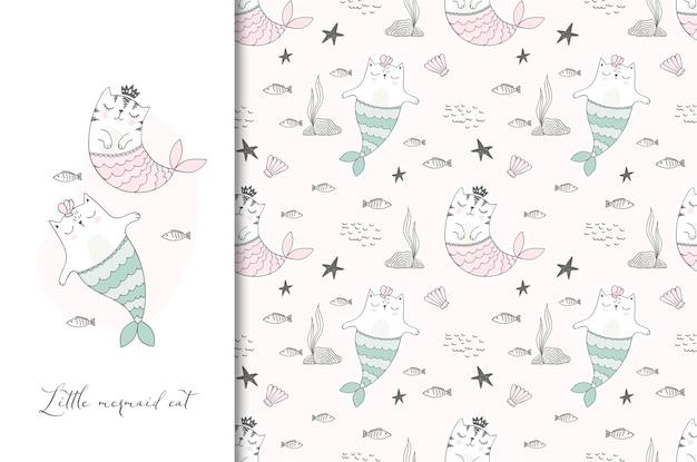 Tarjeta de ilustración de gatos marinos lindo y patrones sin fisuras.