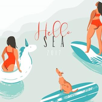 Tarjeta de ilustración de horario de verano divertido abstracto dibujado a mano con chicas surfistas, círculo de unicornio de natación, lindo perro en tabla de surf y cita de tipografía moderna