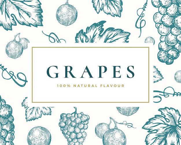 Tarjeta de ilustración de uvas dibujadas a mano. racimo de uva abstracto y fondo de boceto de hojas con tipografía retro elegante.