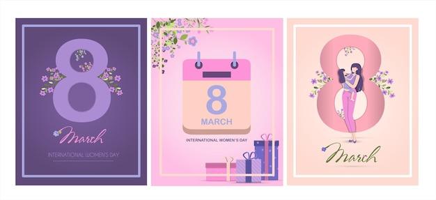 Tarjeta para la ilustración de vector de día internacional de la madre para marzo con flores y saludos ba ...
