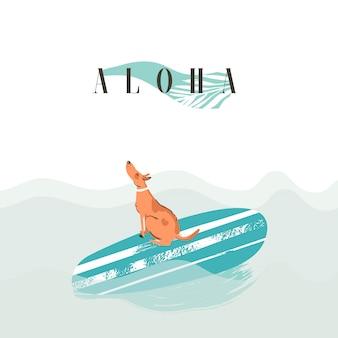 Tarjeta de ilustración de verano divertido abstracto dibujado a mano con perro surfista de natación en tabla de surf en olas oceánicas azules y cita de caligrafía moderna aloha aislado en azul