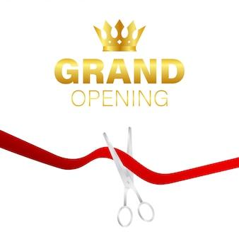 Tarjeta de inauguración con cinta roja y tijeras plateadas