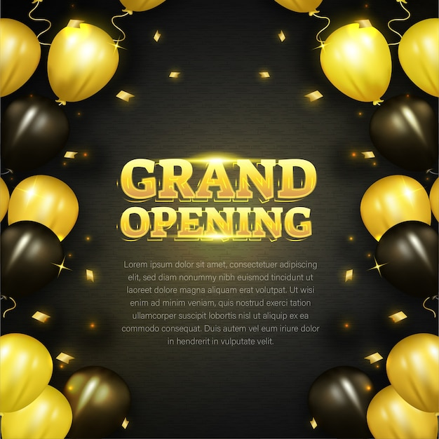 Tarjeta de inauguración con decoración de globos dorados.