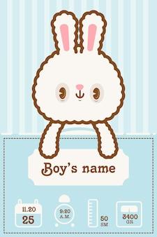 Tarjeta de información linda del nuevo bebé kawaii