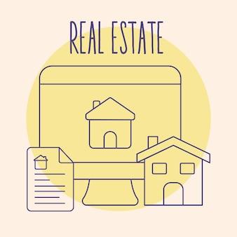 Tarjeta inmobiliaria con artículos