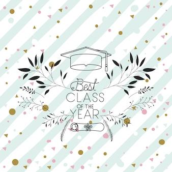 Tarjeta de inscripción de graduación con graduación de sombrero