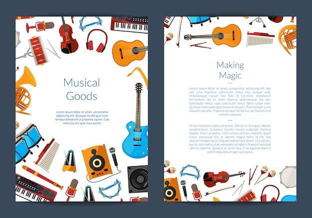 Tarjeta de instrumentos musicales de dibujos animados