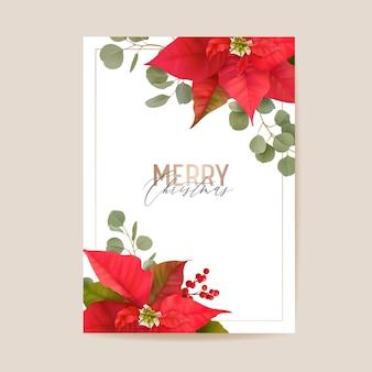 Tarjeta de invierno de flores 3d de poinsettia realista, saludos de vector de feliz navidad. invitación de fiesta de año nuevo. plantilla de banner floral, marco de ilustración, folleto, portada, postal de boda